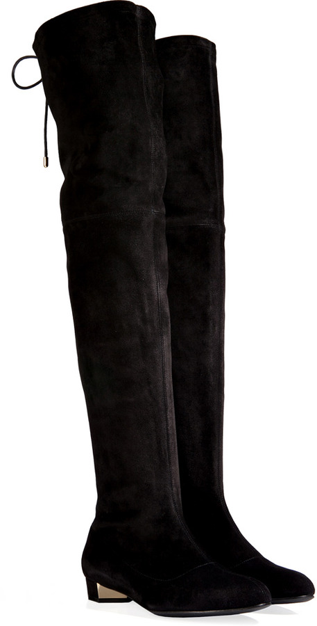 Flat Black Suede Over The Knee Boots - Boot Hto