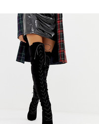 ASOS DESIGN X Laquan Smith Padded Over The Knee Heeled Boot In Velour