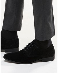 Asos Brand Oxford Shoes In Black Faux Suede