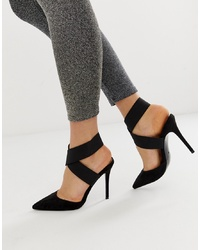 ASOS DESIGN Payback Elastic High Heels In Black