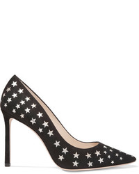 Jimmy Choo Romy Laser Cut Suede And Metallic Leather Pumps Black