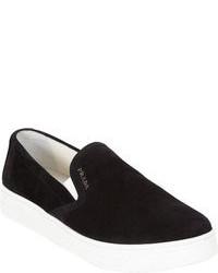 Black Suede Slip-on Sneakers