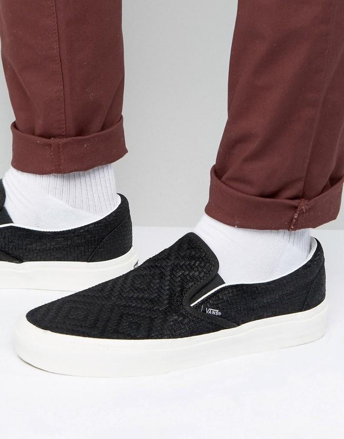f4b7624842c ... Vans Classic Slip On Sneakers In Braided Suede ...
