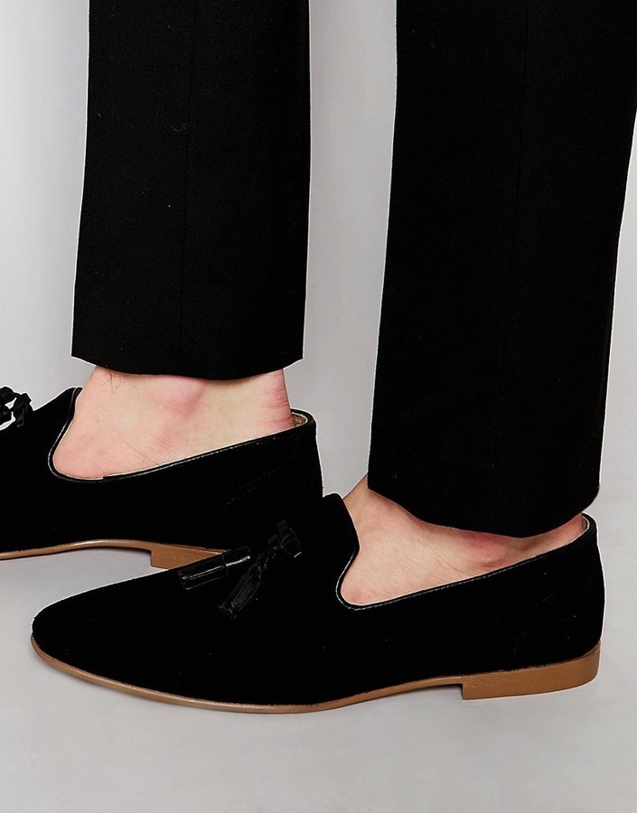440c8f52347 ... Asos Brand Tassel Loafers In Black Suede With Natural Sole ...