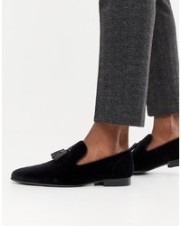 Office Imperial Tassel Loafers In Black Velvet