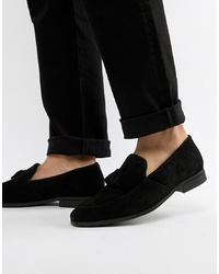 Dune Tassel Loafers In Black Suede