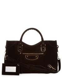 Classic metallic edge city suede bag medium 720504