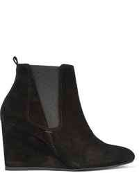 Lanvin Suede Wedge Ankle Boots Black