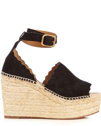 Chlo lauren suede espadrille wedge sandals medium 1156515