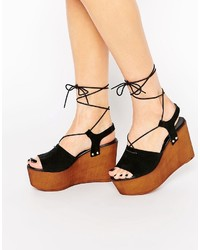 Asos Collection Too Good Suede Tie Up Wedge Sandals