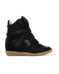 Isabel Marant Bekett Leather Trimmed Suede Wedge Sneakers