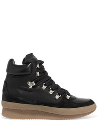 Isabel Marant Brent Suede Leather And Canvas Sneakers Black