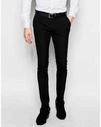 Asos Brand Super Skinny Tuxedo Suit Pants In Black