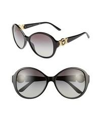 Versace 58mm Round Sunglasses Black One Size