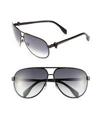 Alexander McQueen 65mm Skull Temple Metal Aviator Sunglasses Matte Black One Size