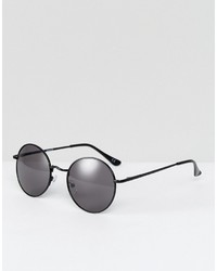 Asos 90s Metal Round Sunglasses In Black