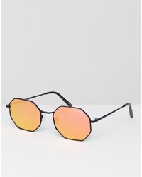 Quay Australia On A Dime Hexagonal Sunglasses In Black