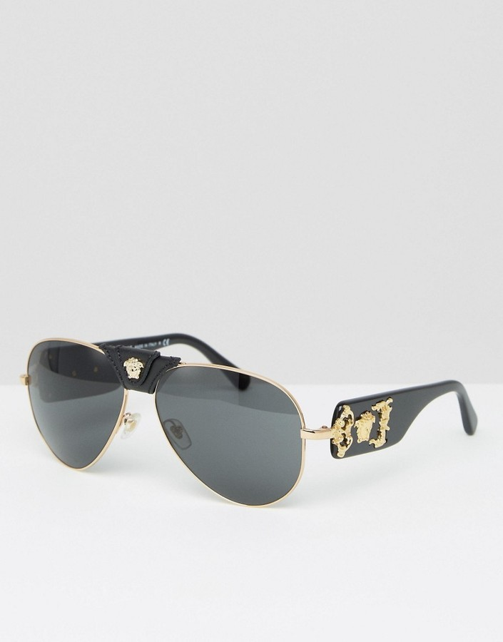 36065fadc49 ... Versace Aviator Sunglasses With Removable Leather Medusa ...