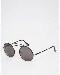 Asos Brand Round Sunglasses In Black Metal With Invisible Nose Bridge