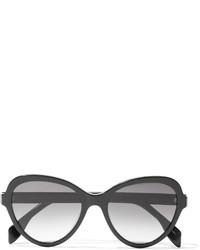 Alexander McQueen Butterfly Frame Acetate Polarized Sunglasses Black