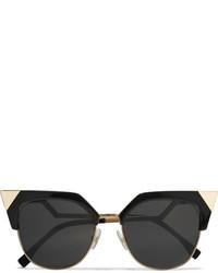 Fendi Iridia Cat Eye Gold Tone And Acetate Sunglasses Black