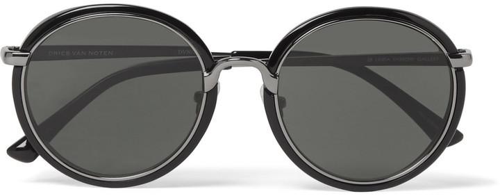ea19fc5bb95 ... Dries Van Noten Linda Farrow Round Frame Gunmetal Tone And Acetate  Sunglasses ...