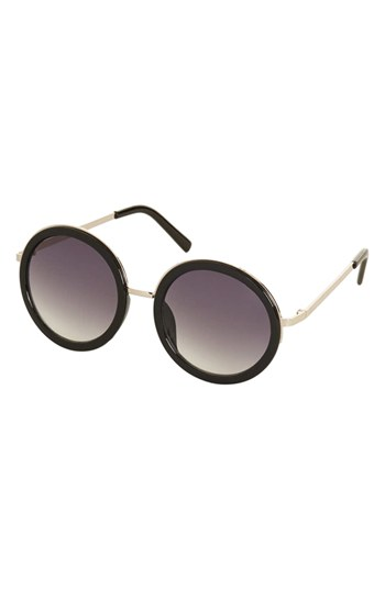 Topshop Lolita Round Sunglasses Black One Size