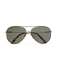 Victoria Beckham Loop Aviator Style Tortoiseshell Acetate And Gold Tone Sunglasses