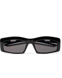 Balenciaga Rectangle Frame Rubber Trimmed Acetate Sunglasses