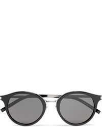 Saint Laurent Round Frame Acetate And Silver Tone Sunglasses