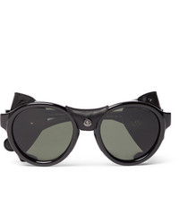 Moncler Round Frame Leather Trimmed Acetate Polarised Sunglasses
