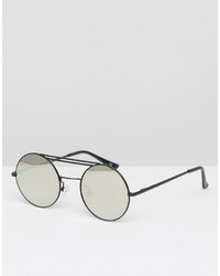 Asos Round Sunglasses With Mirror Lens In Black