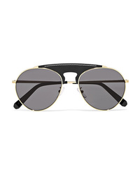 Loewe Sasha Aviator Style Gold Tone And Leather Sunglasses