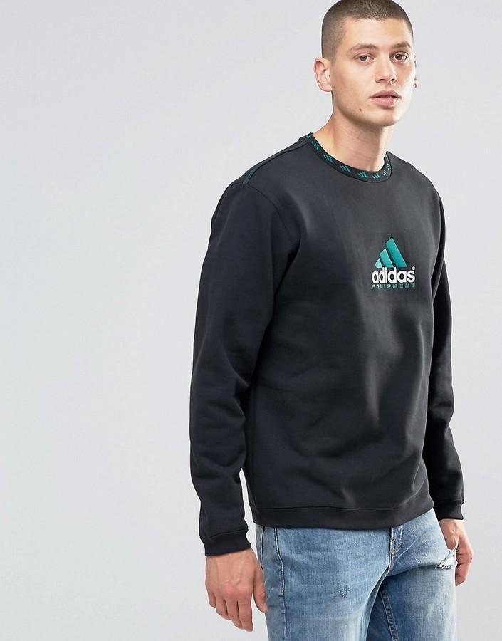 £79, adidas Originals Eqt Crew Sweatshirt In Black Ay9246