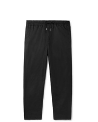 Mr P. Black Slim Fit Tapered Linen And Cotton Blend Drawstring Trousers