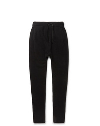 Isabel Benenato Black Slim Fit Tapered Wool Blend Drawstring Trousers