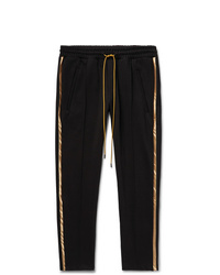 Rhude Black Traxedo Slim Fit Tapered Satin Trimmed Jersey Drawstring Trousers
