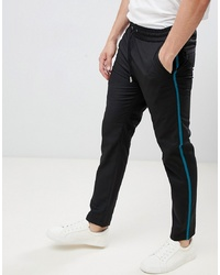 Lindbergh Relaxed Trouser In Black With Contrast Stripe