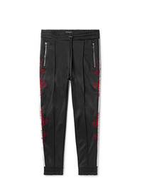 Amiri Slim Fit Tapered Embroidered Webbing Trimmed Tech Jersey Track Pants