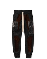 Rick Owens Slim Fit Tapered Suede Panelled Tech Canvas Cargo Trousers
