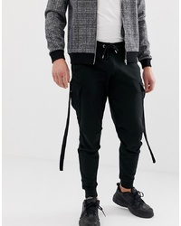 ASOS DESIGN Tapered Joggers With Cargo Pockets And Strapping