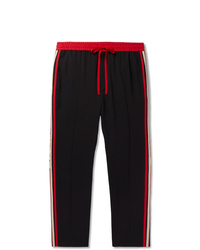Gucci Tapered Logo Webbing Trimmed Woven Drawstring Trousers