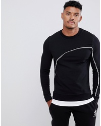 ASOS DESIGN Muscle Sweatshirt With Hem Extender And Piping In Black