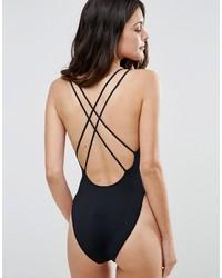 Asos Cross Back High Leg Swimsuit