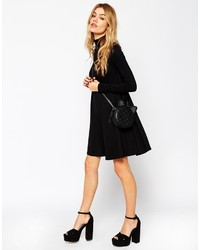 Asos Collection Swing Dress With Polo Neck And Long Sleeves