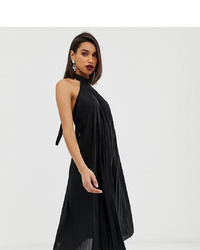 ASOS DESIGN Backless Halter Pleated Midi Dress