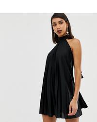 ASOS DESIGN Backless Halter Pleated Mini Dress