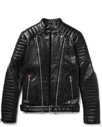 Quilted textured leather biker jacket medium 1245939