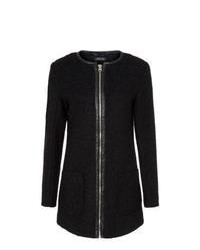 New Look Black Collarless Textured Zip Coat