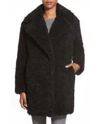 Kensie Teddy Bear Notch Collar Faux Fur Coat